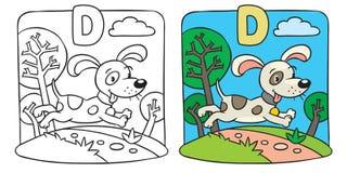 Malbuch des kleinen lustigen Hundes Alphabet D Stockbild