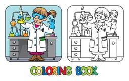 Malbuch des lustigen Chemikers oder des Wissenschaftlers Stockbilder