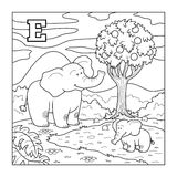 Malbuch (Elefant), farbloses Alphabet für Kinder: lette Lizenzfreie Stockbilder