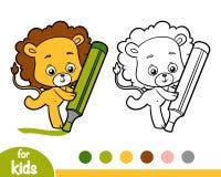 Malbuch, Löwe und große Markierung stock abbildung