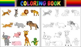 Malbuch mit Sammlung der wilden Tiere Stockfotos