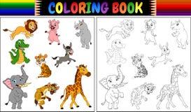 Malbuch mit Sammlung der wilden Tiere Lizenzfreie Stockbilder