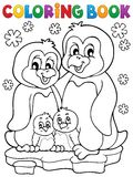 Malbuchpinguin-Familienthema 1 Lizenzfreie Stockfotografie
