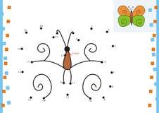 Malbuchpunkt zu punktieren. Der Schmetterling Stockbild