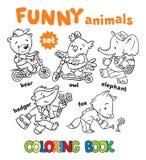 Malbuchsatz lustige Babytiere Stockbilder