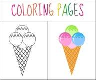 Malbuchseite Erdbeere-, Schokoladen-, Vanille- und Pistazieeiscremekegel über weißem Hintergrund Skizzen- und Farbversion Farbton Lizenzfreies Stockfoto