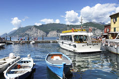 Malcesine Harbour on Lake Garda in Northern Italy. Royalty Free Stock Images