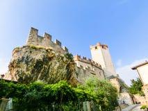 Malcesine, Italia - 21 settembre 2014: Castello medievale di Scaligero Fotografie Stock
