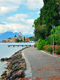 Malcesine, Italy. JULY 27: Pedestrian promenade in Malcesine resort, Italy on July 27, 2014. Malcesine is a resort on northern part of Garda lake in Italy Royalty Free Stock Photos