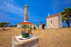 Veli Rat lighthouse and chapel view, Dugi Otok island Royalty Free Stock Images