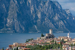 Malcesine - Lago Di Garda. The beautiful village Malcesine at the Lago di Garda in the north of Italy. In the center of the village is the Scaligero castle Royalty Free Stock Photo