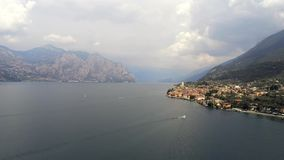 Malcesine and Lake Garda from the Air stock video