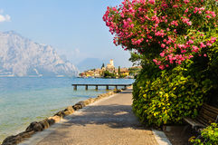 Malcesine on Lake Garda, Italy. View of the  old town and the Scaliger castle Stock Photos