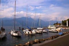 Malcesine marina på sjön Garda Royaltyfri Fotografi