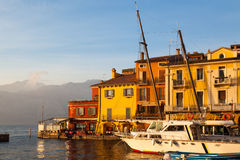 Malcesine. A marina in a small town Malcesine at the Lake Garda, Italy Stock Images