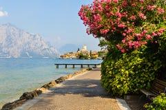 Malcesine på sjön Garda, Italien Arkivfoton