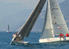 Malcesine sailing regatta. From 25th to 27th July European Open Malcesine Sailing Class esse 8.50 Malcesine - Lake Garda - italy stock photos