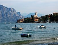 Malcesine with the Scaliger Castle, Garda Lake, Italy royalty free stock photo