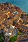 Malcesine - sobre ciudad vieja - lago Garda - Italia Fotos de archivo