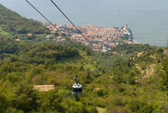 Malcesine from the Top of Monte Baldo above Malcesine Castle on Lake Garda Italy Royalty Free Stock Image
