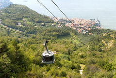 Malcesine from the Top of Monte Baldo above Malcesine Castle on Lake Garda Italy Stock Images