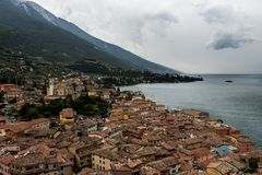 Malcesine view from the top of Scaligero Castle, Italy royalty free stock photo
