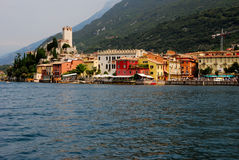 Malcesine waterfront. Township of Malcesine on the eastern coast of the Garda lake, Italy. On the left side the Scaliger castle stock image