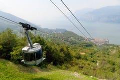 Malcesine z wierzchu Monte Baldo nad Malcesine kasztel na Jeziornym Gardzie Włochy Zdjęcia Stock