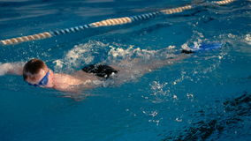Malchih professionally well in the pool. Malchih professionally swims well in the pool stock video