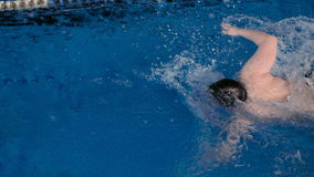 Malchih professionally well in the pool. Malchih professionally swims well in the pool stock video footage