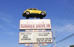 Malco Drive-In Movie Sign. A Malco summer Drive-In Movie Theater sign, Malco operates one of the only drive-in movies in the United States Stock Photos