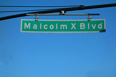 Malcolm X Boulevard. A sign for Malcolm X Boulevard, named after the Muslim minister and human rights activist, in Harlem, New York stock photo