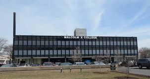 Malcolm X College. This is a Winter picture of Malcolm X College on the West Side of Chicago, Illinois.  The two year city college was designed by C.F. Murphy Stock Photography