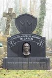 Celebrity grave stones, london. Malcolm Mcclaren grave stone on a misty day in an old Victorian cemetery in North London, uk royalty free stock photo