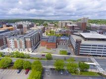 Malden city aerial view, Massachusetts, USA. Malden city aerial view on Centre Street in downtown Malden, Massachusetts, USA stock photography