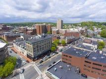 Malden city aerial view, Massachusetts, USA. Malden city aerial view on Centre Street in downtown Malden, Massachusetts, USA stock image