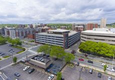 Malden city aerial view, Massachusetts, USA. Malden city aerial view on Centre Street in downtown Malden, Massachusetts, USA stock images