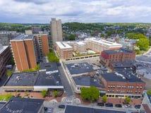 Malden city aerial view, Massachusetts, USA. Malden city aerial view on Centre Street in downtown Malden, Massachusetts, USA royalty free stock photos