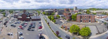 Malden city aerial view, Massachusetts, USA. Malden city aerial view panorama on Centre Street in downtown Malden, Massachusetts, USA stock image