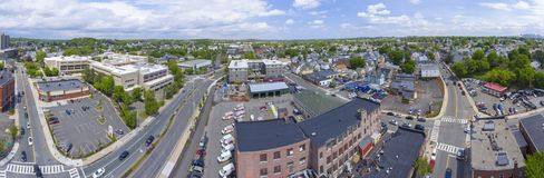 Malden-Stadtvogelperspektive, Massachusetts, USA lizenzfreie stockbilder