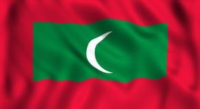 Maldive flag waving symbol of maldives. Maldive flag waving in the wind symbol of maldives country in Asia Royalty Free Stock Photos