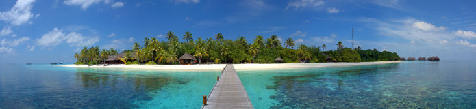 Maldive island resort. Panorama of a Maldive island resort stock image