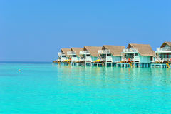 Maldive water villa - bungalows Stock Photos
