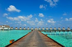 Maldive water villa - bungalows Royalty Free Stock Photos