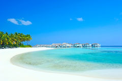 Maldive water villa - bungalows Royalty Free Stock Photo