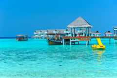Maldive water villa - bungalows Stock Image