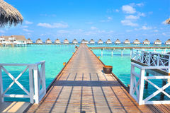 Maldive water villa - bungalows Royalty Free Stock Photography