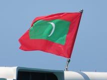 Maldiverna flagga arkivfoto