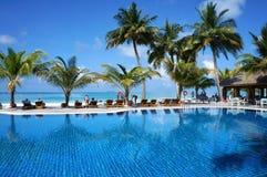Maldiverna - Januari 17, 2013: Sceniskt soligt landskap av vattenpölen vid den tropiska havstranden med kokosnötpalmträd och vard Arkivfoto