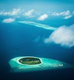 Maldiverna sikt från sjöflygplanet Fotografering för Bildbyråer